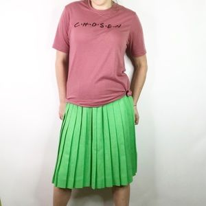 Vintage green pleated skirt size 4